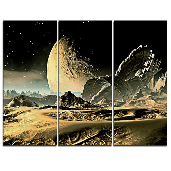 Designart Crashed Spaceship Contemporary Canvas Art Print - 3 Panels