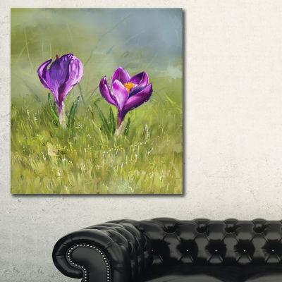 Designart Crocus Couple Floral Art Canvas Print -3Panels