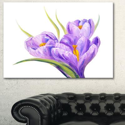 Designart Crocuses In White Background Floral ArtCanvas Print - 3 Panels