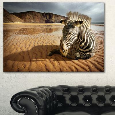 Designart Beach Zebra Animal Photography Art - 3Panels