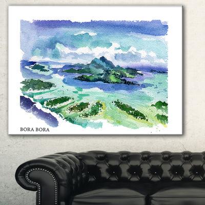 Designart Bora Bora Vector Illustration CityscapePainting Canvas Print - 3 Panels