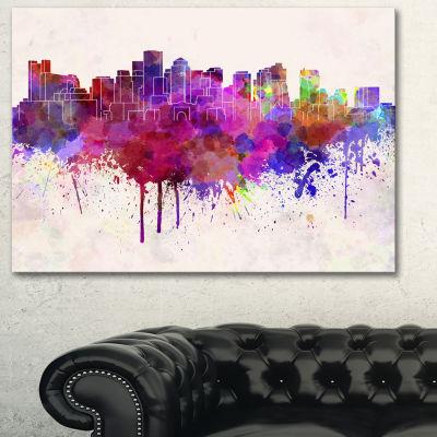 Designart Boston Skyline Cityscape Canvas ArtworkPrint