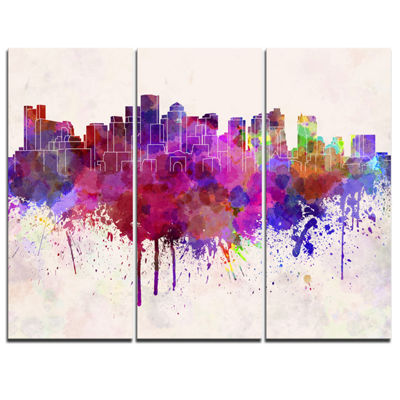 Designart Boston Skyline Cityscape Canvas ArtworkPrint - 3 Panels