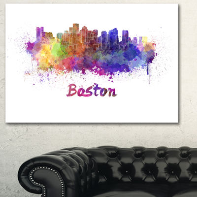 Designart Boston Skyline Large Cityscape Canvas Artwork Print - 3 Panels