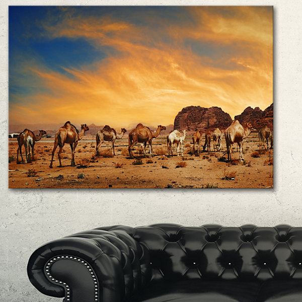 Designart Camels In Wadi Rum Photography Canvas Art Print - 3 Panels