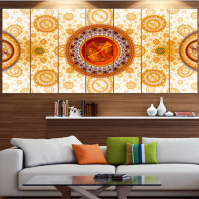 Designart Extraordinary Fractal Yellow Design Abstract Canvas Art Print - 3 Panels