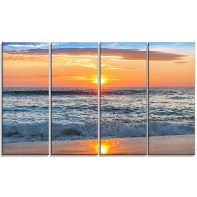 Design Art Beautiful Sunrise Over The Horizon. Modern Beach Canvas Art Print - 4 Panels