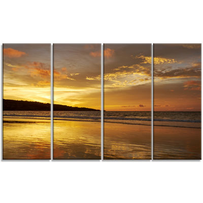 Designart Amazing Beach With Beautiful Breaking Waves Modern Beach Canvas Art Print - 4 Panels