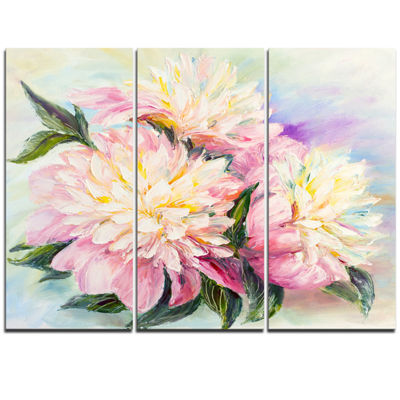 Designart Blooming Pink Peonies Floral Art CanvasPrint - 3 Panels