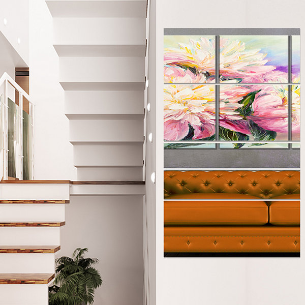 Designart Blooming Pink Peonies Floral Art CanvasPrint - 4 Panels