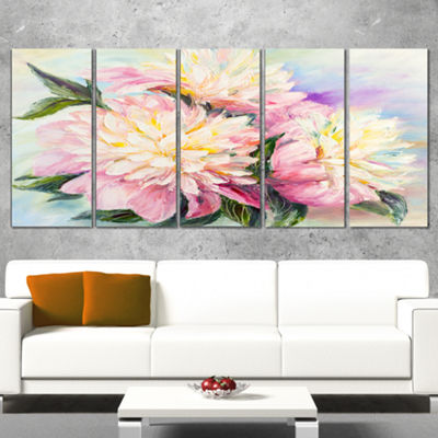 Designart Blooming Pink Peonies Floral Art CanvasPrint - 5 Panels