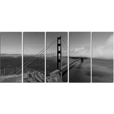 Designart Golden Gate Bridge In Gray Panorama SeaBridge Canvas Art Print - 5 Panels