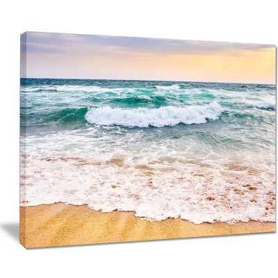 Designart Foaming Waves Splashing The Sand Seascape Canvas Art Print