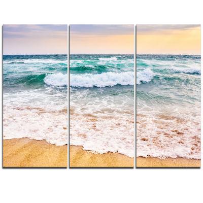 Designart Foaming Waves Splashing The Sand Seascape Canvas Art Print - 3 Panels
