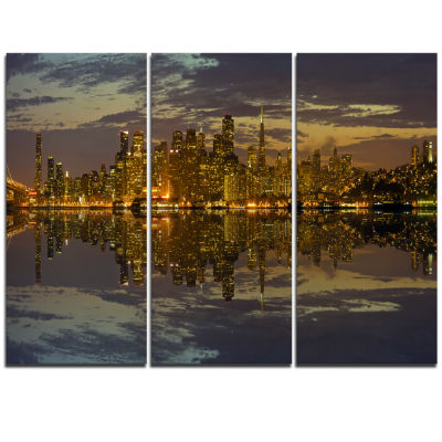 Designart San Francisco At Sunset Panorama Cityscape Canvas Print - 3 Panels