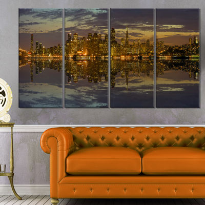 Designart San Francisco At Sunset Panorama Cityscape Canvas Print - 4 Panels