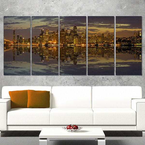 Design Art San Francisco At Sunset Panorama Cityscape Canvas Print - 5 Panels
