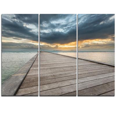 Designart Beach Sunset In Koh Samui Thailand Sea Bridge Canvas Art Print - 3 Panels