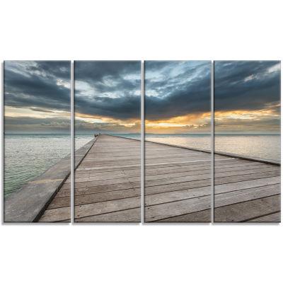 Designart Beach Sunset In Koh Samui Thailand Sea Bridge Canvas Art Print - 4 Panels