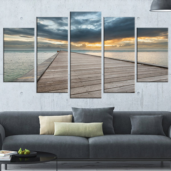 Design Art Beach Sunset In Koh Samui Thailand Sea Bridge Canvas Art Print - 5 Panels
