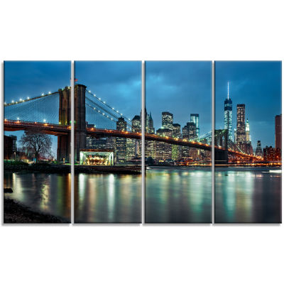 Design Art Brooklyn Bridge And Skyscrapers Cityscape Canvas Print - 4 Panels
