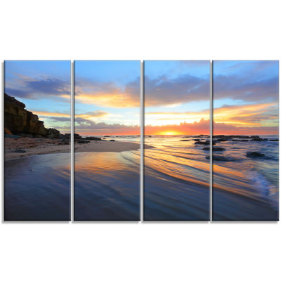 Designart Exotic Seashore Sunrise Australia CanvasArt Print - 4 Panels