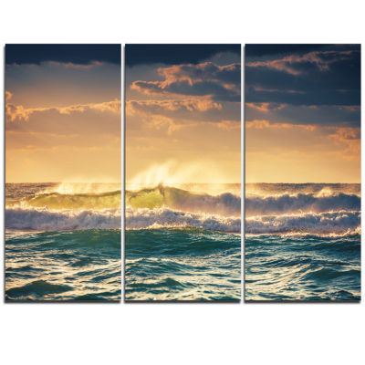 Designart Sunrise And Shining Waves In Ocean Seascape Canvas Art Print - 3 Panels