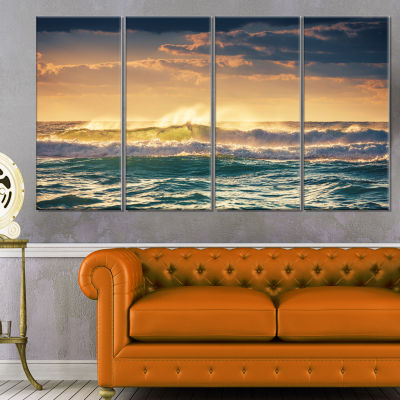 Designart Sunrise And Shining Waves In Ocean Seascape Canvas Art Print - 4 Panels