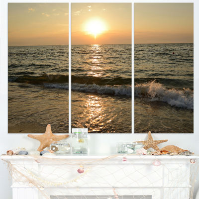Designart Black Seascape In Morning Sunlight BeachPhoto Canvas Print - 3 Panels