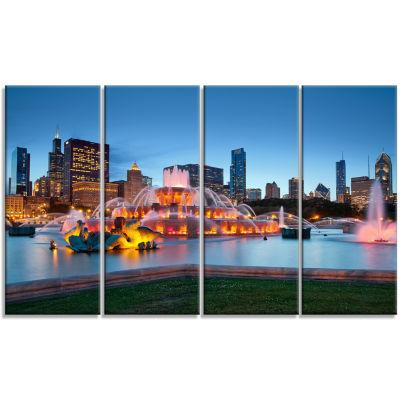 Designart Colorful Buckingham Fountain Cityscape Canvas Print - 4 Panels