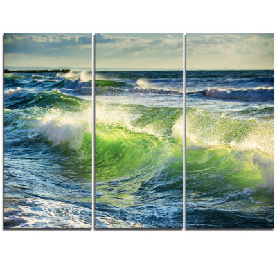 Design Art Sunrise And Shining Waves In Ocean Beach Photo Canvas Print - 3 Panels