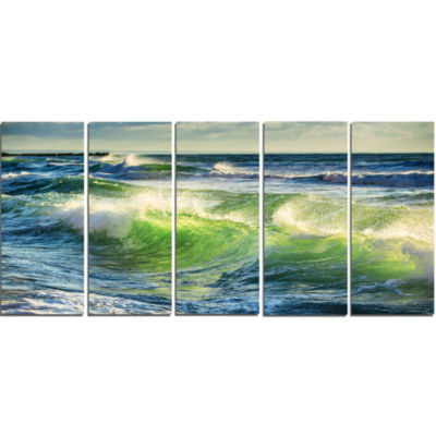 Designart Sunrise And Shining Waves In Ocean BeachPhoto Canvas Print - 5 Panels