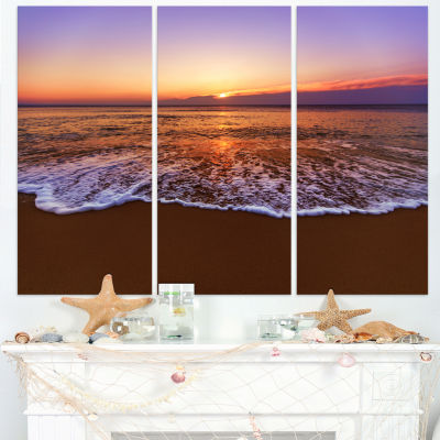 Design Art Orange Tinged Sea Waters At Sunset Beach Photo Canvas Print - 3 Panels