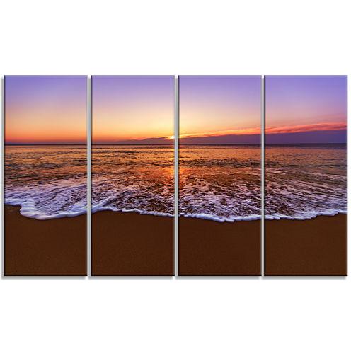 Design Art Orange Tinged Sea Waters At Sunset Beach Photo Canvas Print - 4 Panels