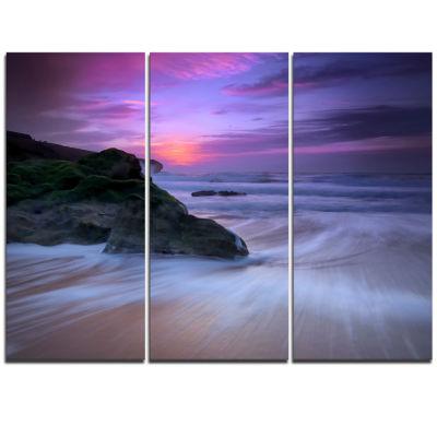 Designart Slow Motion Waves On Winch Beach Seashore Canvas Art Print - 3 Panels