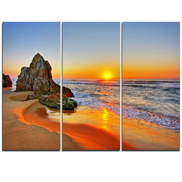 Designart Beautiful Sunrise By Beach In Tathra Seashore Canvas Art Print - 3 Panels