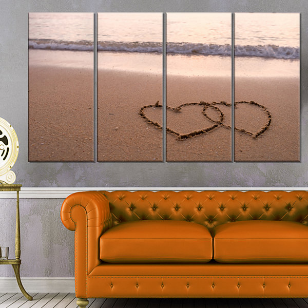 Designart Two Hearts Drawn On The Beach Seascape Art Canvas - 4 Panels