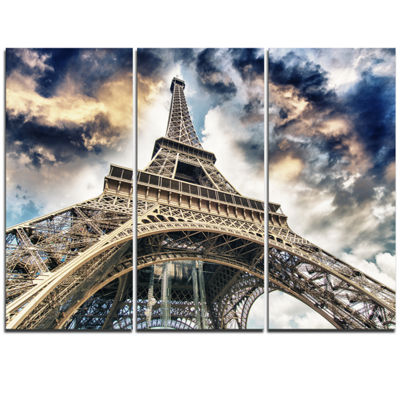 Designart The Paris Eiffel Tower view From GroundCityscape Canvas Print - 3 Panels