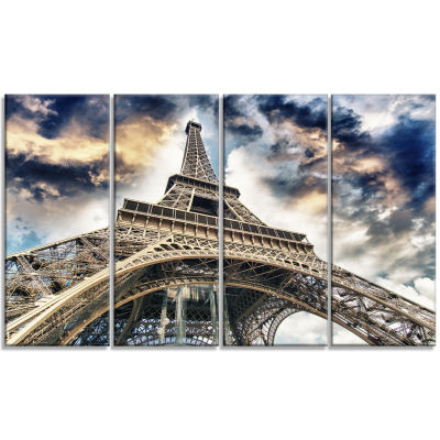 Design Art The Paris Eiffel Tower view From Ground Cityscape Canvas Print - 4 Panels