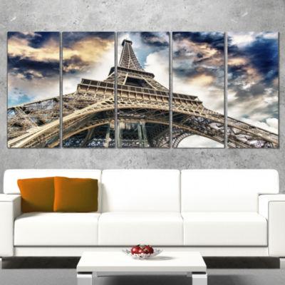 Designart The Paris Eiffel Tower view From GroundCityscape Canvas Print - 5 Panels