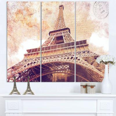 Designart Paris Eiffel Tower Postcard Design Cityscape Canvas Print - 3 Panels