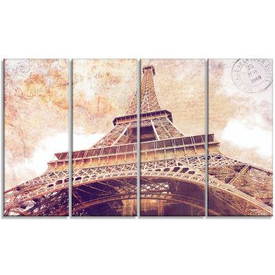 Designart Paris Eiffel Tower Postcard Design Cityscape Canvas Print - 4 Panels