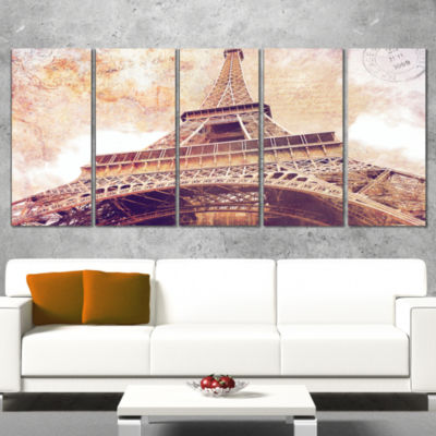 Designart Paris Eiffel Tower Postcard Design Cityscape Canvas Print - 5 Panels