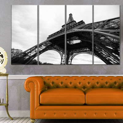 Designart Paris Eiffel Tower in Black And White Side View Cityscape Canvas Print - 4 Panels