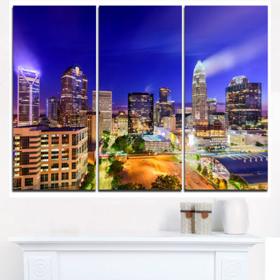 Designart Charlotte North Carolina Cityscape Canvas Print - 3 Panels