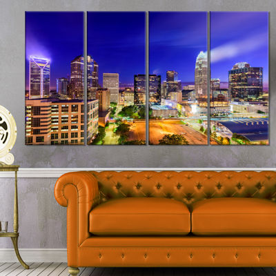 Designart Charlotte North Carolina Cityscape Canvas Print - 4 Panels
