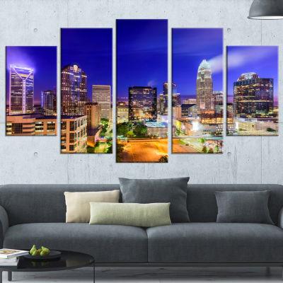 Designart Charlotte North Carolina Cityscape Canvas Print - 5 Panels