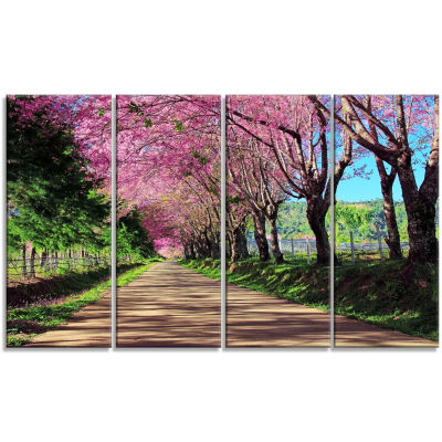 Designart Cherry Blossom Pathway In Chiang Mai Landscape Canvas Art Print - 4 Panels