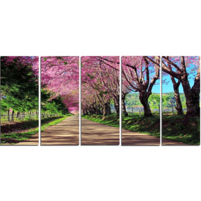 Design Art Cherry Blossom Pathway In Chiang Mai Landscape Canvas Art Print - 5 Panels