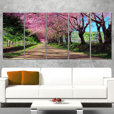 Designart Cherry Blossom Pathway In Chiang Mai Landscape Canvas Art Print - 5 Panels